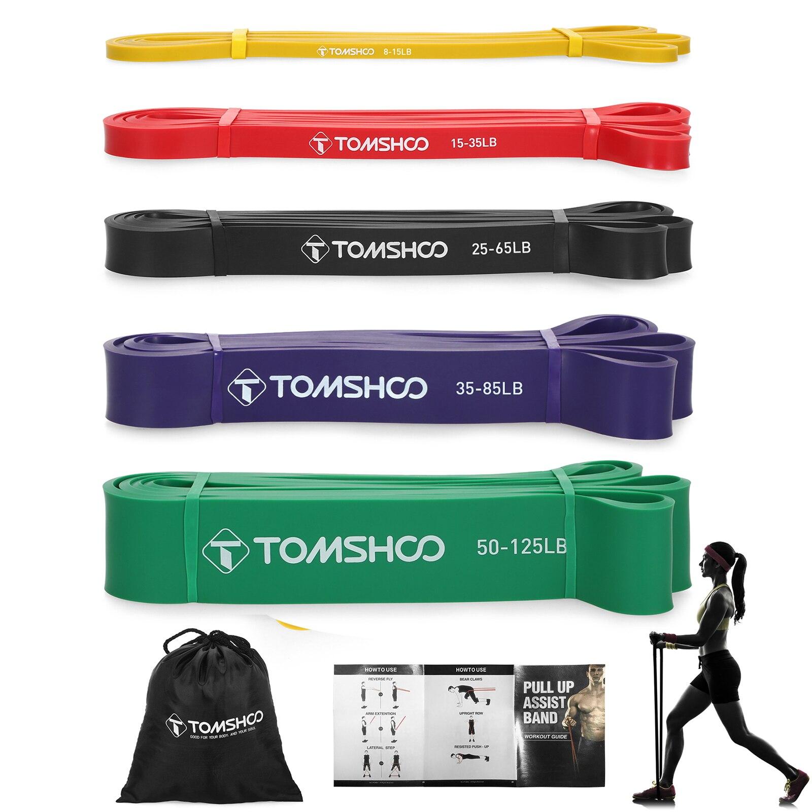 TOMSHOO 4pcs Pull Up Assist Bands Set fasce elastiche di resistenza Powerlifting allenamento esercizio fasce elastiche con borsa per il trasporto
