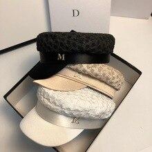 Fall Octagonal Hats for Women Plaid M Letter Cotton Wrinkle Sailor Caps New Ladies Sun Hat Visors Newsboy Caps Female Berets