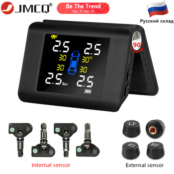 JMCQ TPMS Solar Power Tyre Pressure Monitoring System with 4 Sensors LCD Real-time Display Car Tire Pressure Auto Alarm System careud t801 nf auto car tpms tire pressure solar panel monitoring system with 4 internal sensors