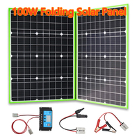 XINPUGUANG 100W 12V Folding Solar Panel Portable Solar Charger Generator 10A Charge Controller Cable for Battery Car Camping