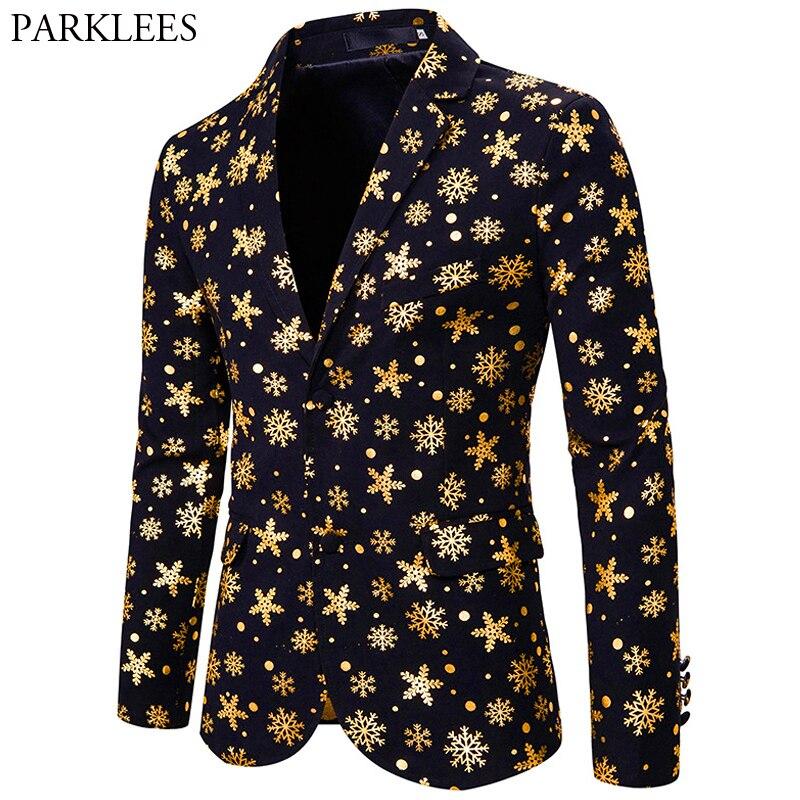 Shiny Gold Snow Print Christmas Blazer Men 2019 Xmas Party Prom Stage Blazer Jacket Male Slim Fit Feliz Navidad Blazer Masculino