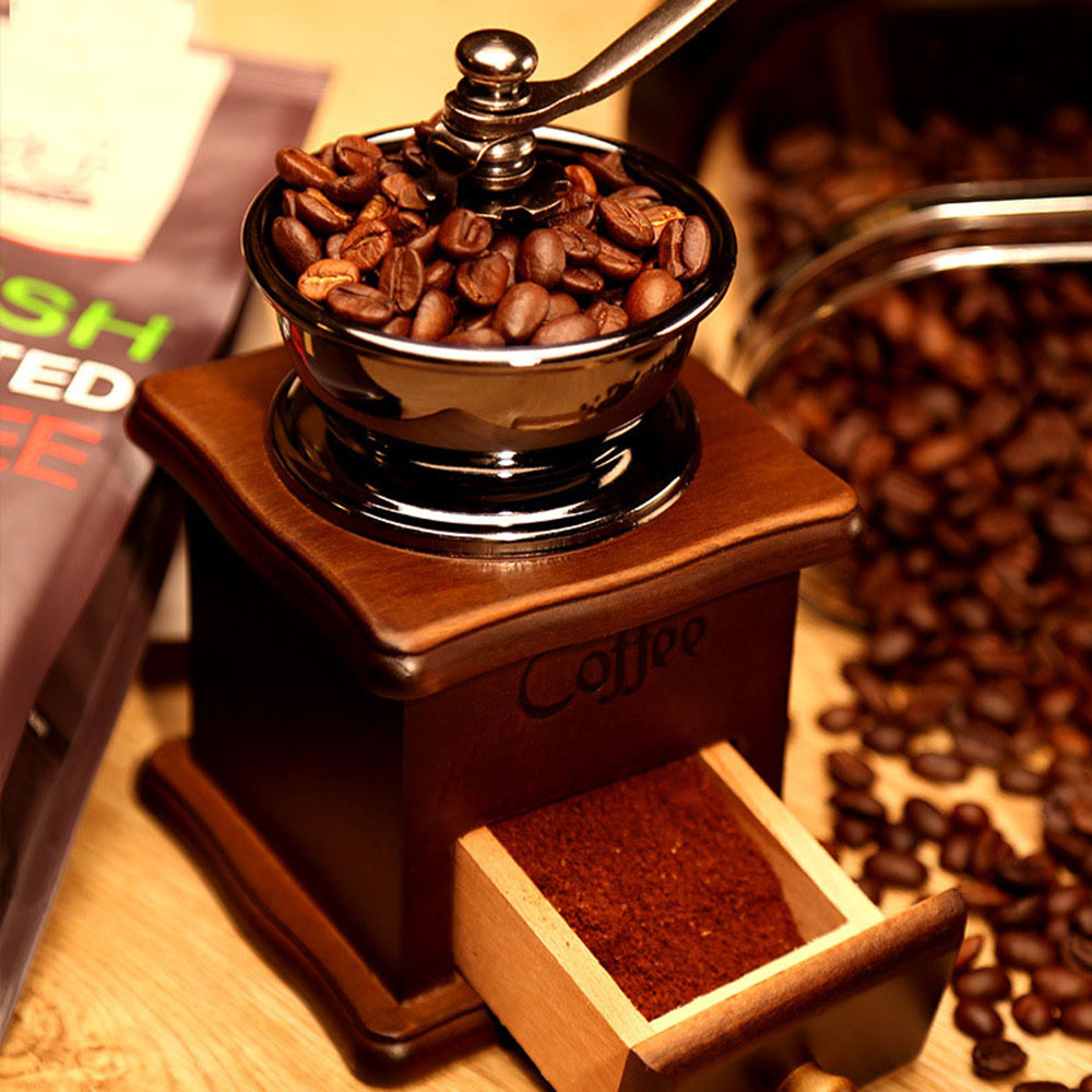 Classical Wooden Manual Coffee Grinder Hand Retro Coffee Spice Mini Burr Mill With High-quality Ceramic Millston