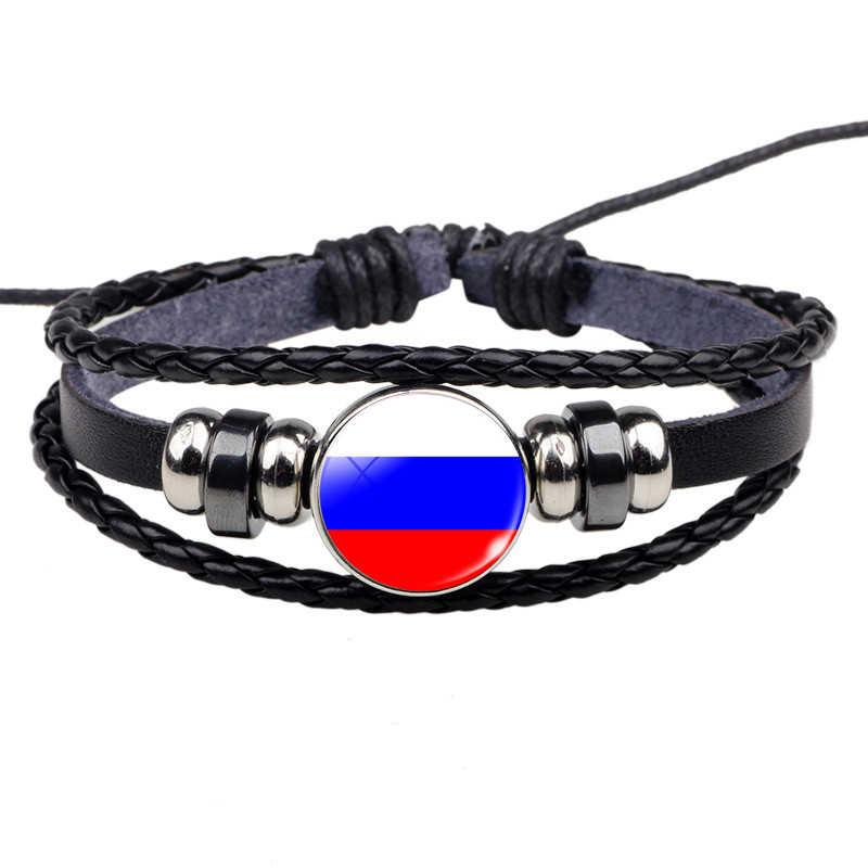 """לאומי דגלי ארה""""ב רוסיה ספרד קסם צמיד צמידי עור קלוע חבל צמיד פאנק סגנון נשים גברים מתנה סיטונאי"""