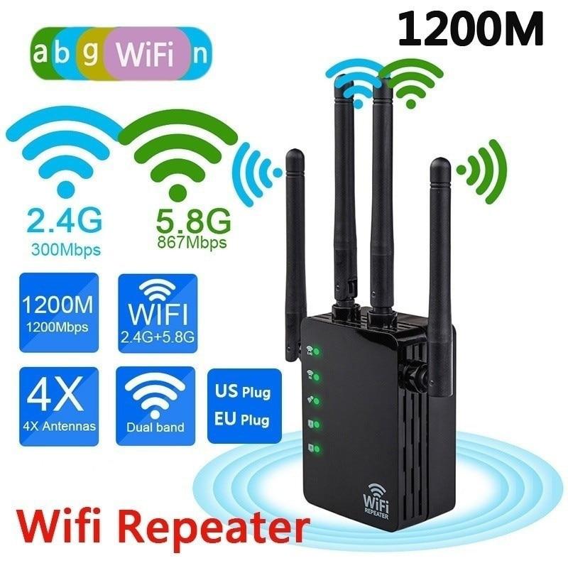 Двухдиапазонный Wi-Fi ретранслятор 2,4 ГГц/с, 1200 Мбит/с, беспроводной расширитель диапазона AP Router, усилитель сигнала Wi-Fi с 4 антеннами для отеля/д...