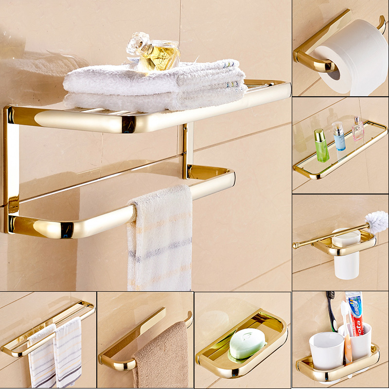 Gold Polished Brass Square Bathroom Hardware Towel Shelf Towel Bar Paper Holder Cloth Hook Bathroom Accessory Kxz014