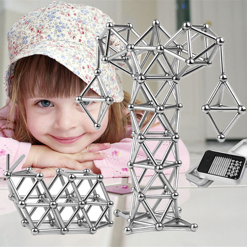 Magnets Cube Magic Building Blocks Construction Toys For Children Educational Bucky Magnetic Sticks Steel Balls Set Puzzle Toys