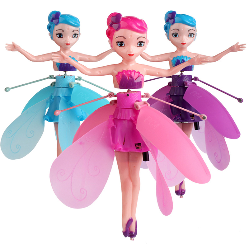 LED Luminous Flower Fairy Princess Hand Remot Control Aircraft RC Drone Lighting Up USB Charge Flying Toys For Children