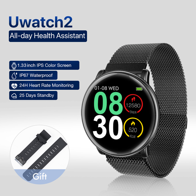 "Uwatch2 Smart Watch 1.33"" IPS 240*240 Display BT4.0 Fitness Pedometer Calorie Smart Timer Heart Rate Sleep Monitori Wristwatch"