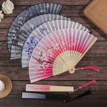 1 шт. Ретро Китайский Японский Шелковый бамбуковый складной веер украшения для дома цветочный Рисунок ручная работа вентиляторы Танцевальн...