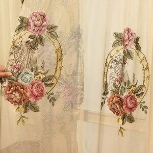 Image 5 - Cortina para janela de bege, grande flor europeu, com relevo, 4d, grossa, para janela, para sala de estar, alta qualidade