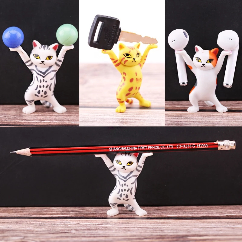 The Cat Lifting Holder Handmade Model Ornaments Lifted the Pen the Phone the AirPods Car desktop ornaments cute characters