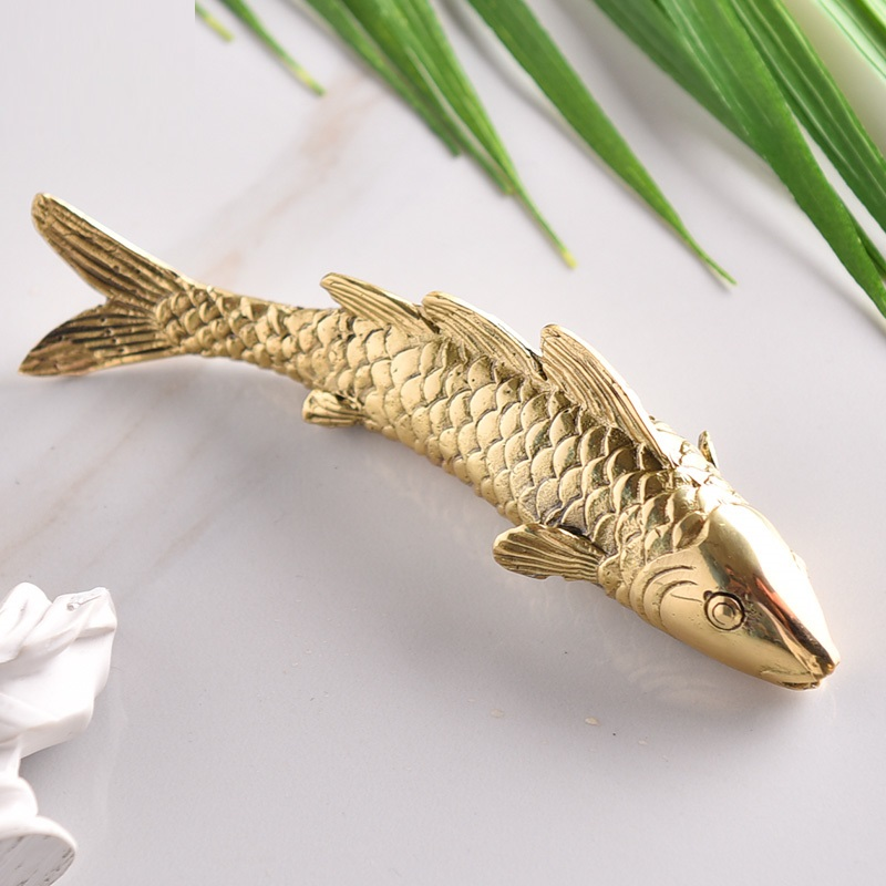 Creative Pure Cupper Koi Art Sculpture Animal Fish Statue Copper Crafts Luxurious Living Room Decorations For Home R3514