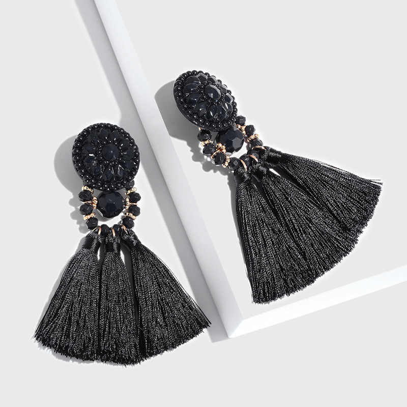 Mulit- Color Bohemian Tassel Earrings Ethnic DIY Earrings Woolen Retro Tassel Pendant  Long Temperament Exaggeration Jewelry