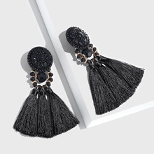 Mulit- Color Bohemian Tassel Earrings Ethnic DIY Woolen Retro Pendant  Long Temperament Exaggeration Jewelry
