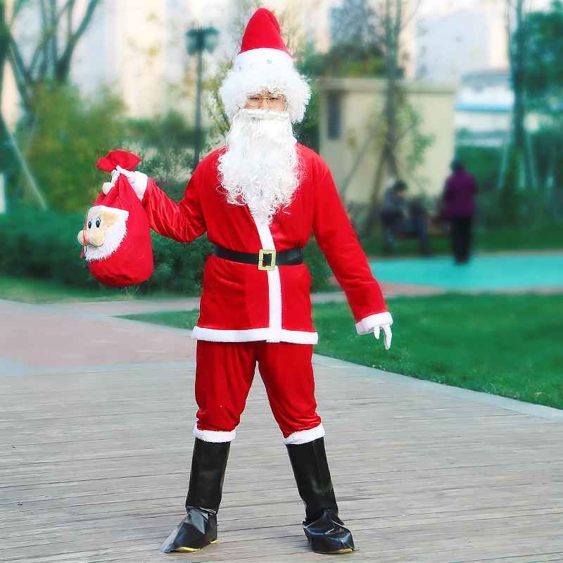 Adult Santa Claus Costume Suit Plush Father Fancy Clothes Xmas Cosplay Props Men Coat Pants Beard Belt Hat Christmas Clothes Set