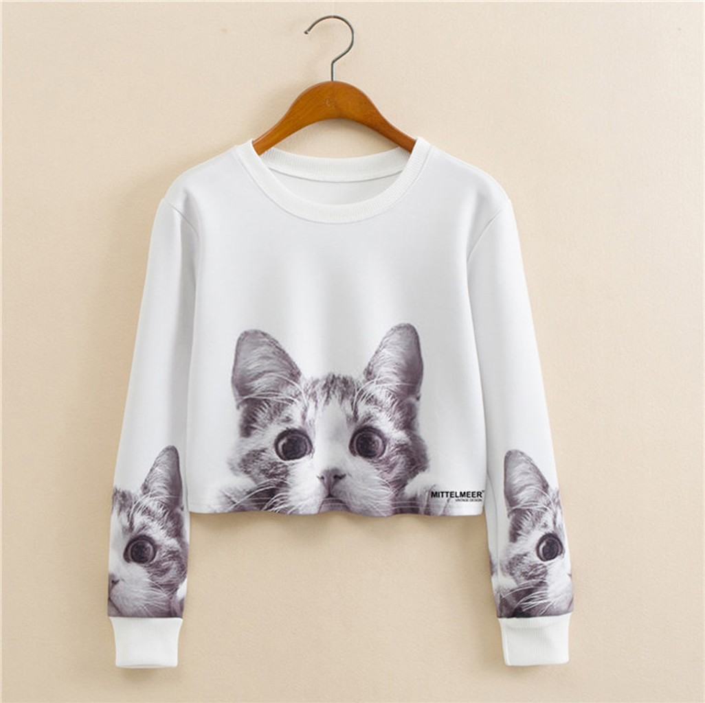 Women's Cat Print Sweatshirt crop crop O- Neck Autumn Spring Long Sleeve Sportswear Loose Casual tops sudadera mujer ropa mujer