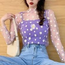 Mesh Top Flower t-Shirt Daisy Lace Long-Sleeve Harajuku Aesthetic Korean-Style Cute New