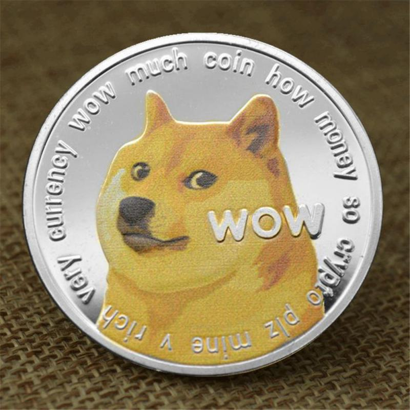 1 Piece Gold/Silver Plated Ethereum Ripple Bitcoin Dogecoin Binance Digital Currency Dog Year Commemorative Coins Ornaments 3