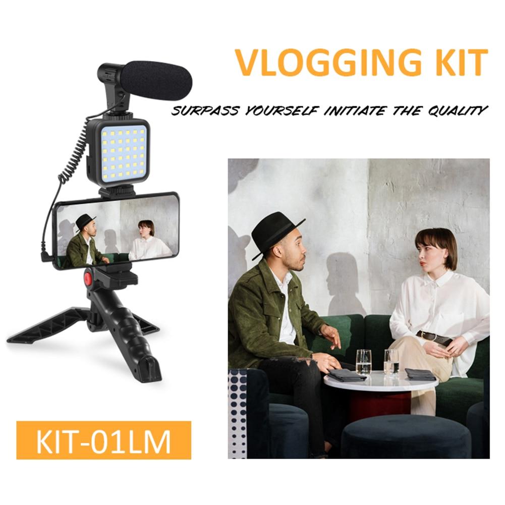 Tripod Holder for Vlogging Photography Smartphone Video Kit Microphone LED Light Recording Handle Stabilizer Bracket