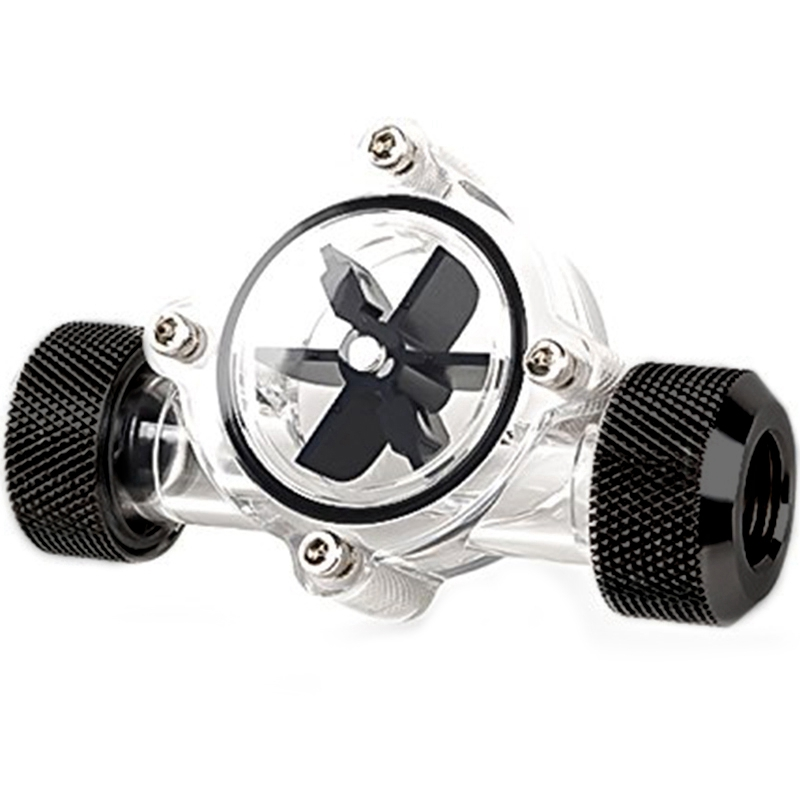 G1/4 Inch Flow Indicator,Clear Main Body,Black Blade,Matte Black Pc Computer Water Cooling System Flow Meter Indicator