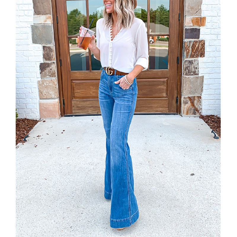 Fashion Casual High Waist Denim Wide Leg Jeans Blue Black Solid Jeans For Women