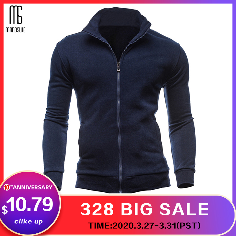 Manoswe 2020 New Men's Navy Blue Stand Collar Zip Jacket Coat Casual Long Sleeve Solid Color Slim Male Coat Oversize 3XL