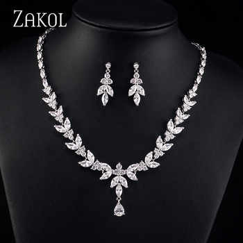 ZAKOL Simple Fashion White Color AAA+ CZ Zirconia Leaf Earrings Necklace Set for Women Bridal Weddings Jewelry Sets FSSP180 - DISCOUNT ITEM  55% OFF All Category