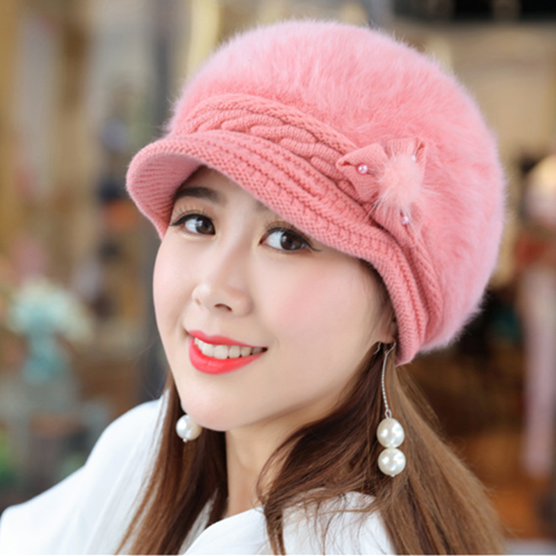Fashion Women Hat Female Winter Hat Floral Pearl Rabbit Fur Knitted Hats For Woman Keep Warm Winter Visor Beanie Hat