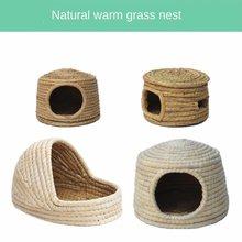 Ninho de coelho, gaiola de coelho, casa de coelho, ninho de grama quente, ninho de cobaia, cama de hamster, gaiola de cobaia, castelo tecido à mão
