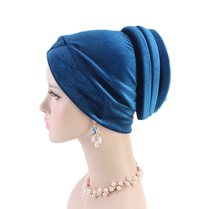 Image 5 - Women Velvet Muslim Cap Turban Headscarf With Pearl Middle East Bandanas Hijab India Cap Autumn Winter Head Wrap Long Tail