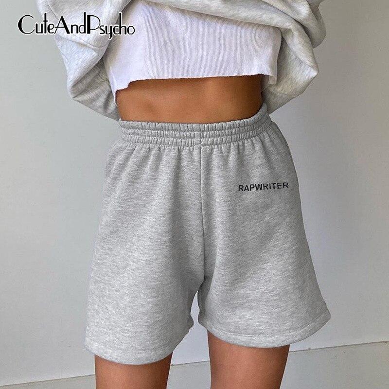 Letter Printed Joggers Women Summer Shorts Wide Leg Shorts Streetwear Casual Elastic Waist Women's Sweatpants 2020 Cuteandpsycho