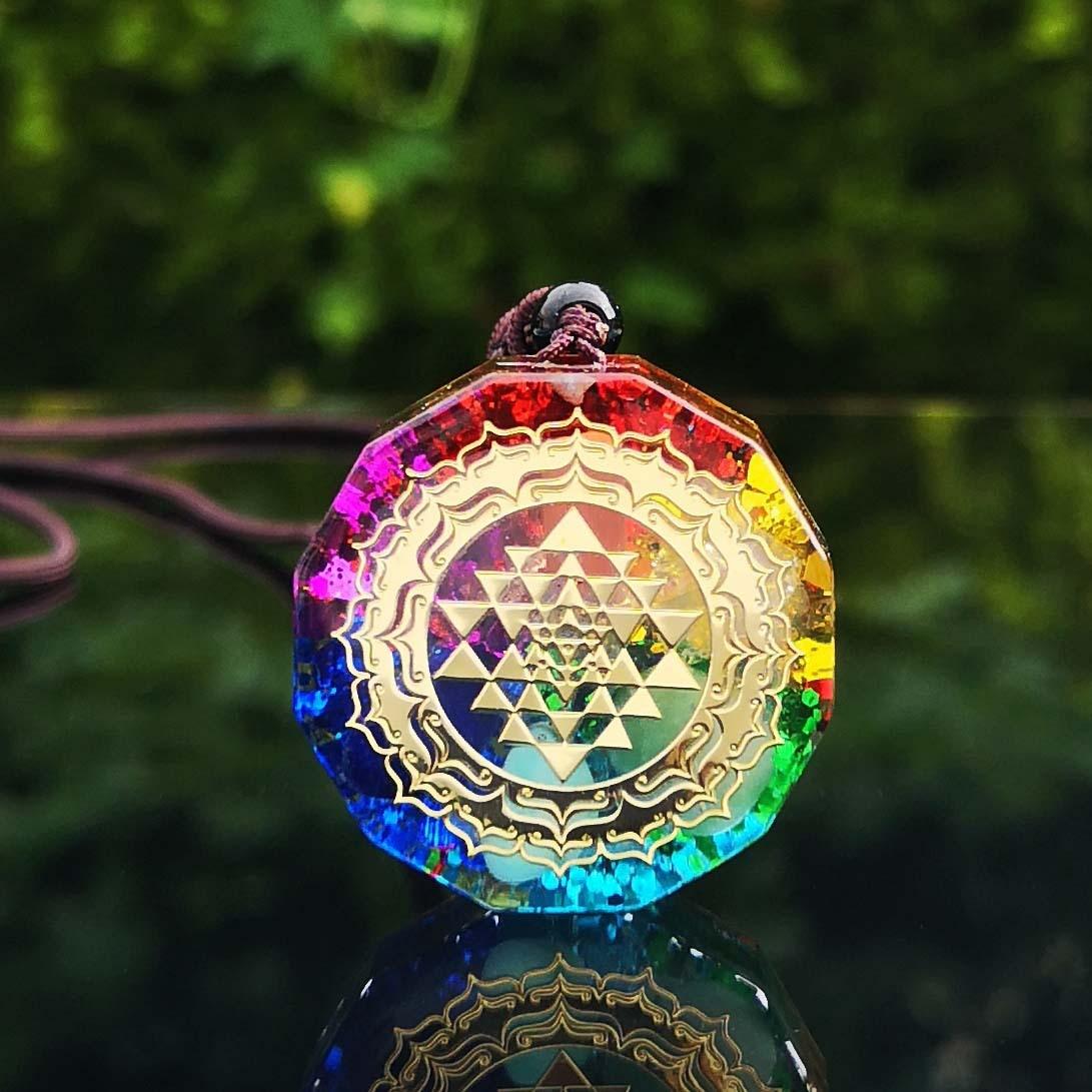 Orgonite Sri Yantra Sacred 7 chakra energy necklace Hinduism meditation natural crystal quartz gems orgone yoga om pendant