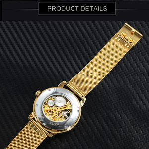 Image 5 - WINNER Official Royal Gold Mechanical Watch Man Mesh Strap Half Cover Skeleton Dial Fashion Dress Mens Watches Top Brand Luxury