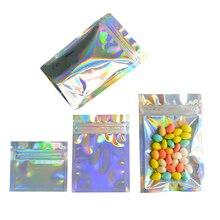 100 шт пластиковый пакет с замком-молнией, голограмма из алюминиевой фольги, пищевая майларовая сумка, водостойкая сумка с застежкой-молнией