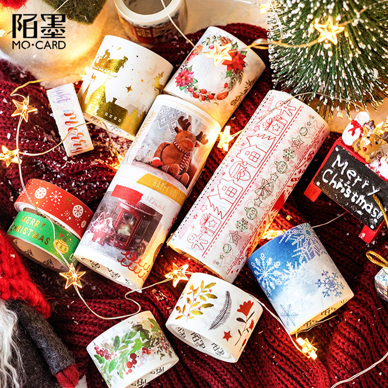 Christmas Washi Tape Ozdobne Cute Kawaii Masking Tape Stickers Scrapbooking School Stationer 3m Fita Adesiva Decorativa Creative