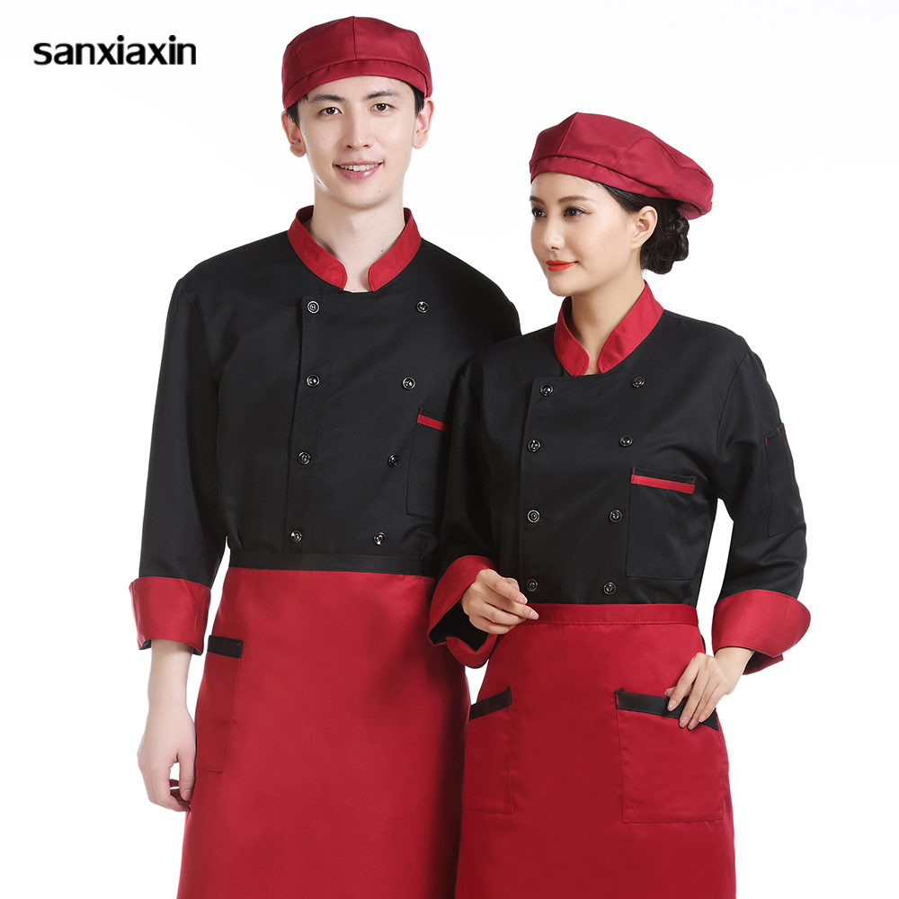 Long Sleeved Chef Shirt Catering Cooking Jacket Restaurant Uniforms Shirts High Quality Breathable Chef Uniform Work Clothes Men