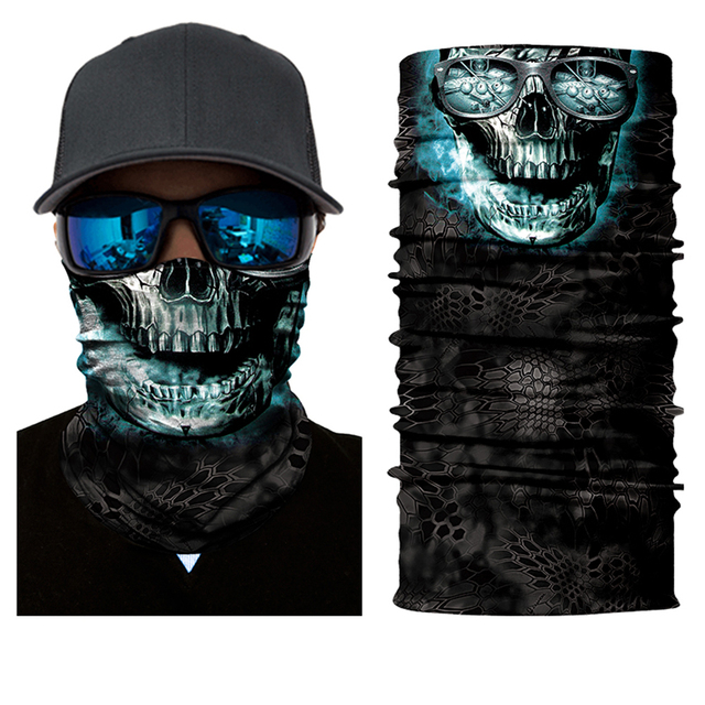 Motorcycle Face Mask Bicycle Skull Half Face Mask Ghost Scarf Multi Use Neck Summer 2