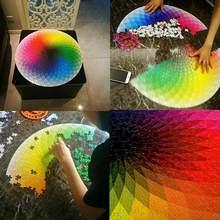 Quebra-cabeças 1000 peças redondas quebra-cabeças arco-íris paleta jogo intelectual para adultos presente crianças quebra-cabeça brinquedos crianças m8c8