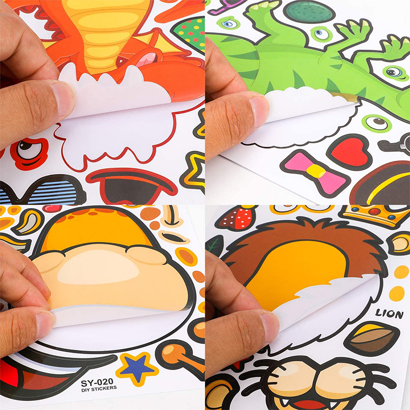 8/4sheets Children DIY Stickers Make Your Own Face Puzzle Sticker Games Cartoon Animal Princess Fun Gift For Kids Creative Toys 5