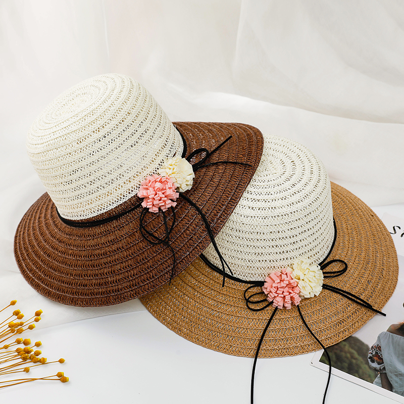 Women Summer Beach Sunhat Breathable Straw Hat Women Outdoor Foldable Flowers Fashion Hat Patchwork Straw Hat 2020 New