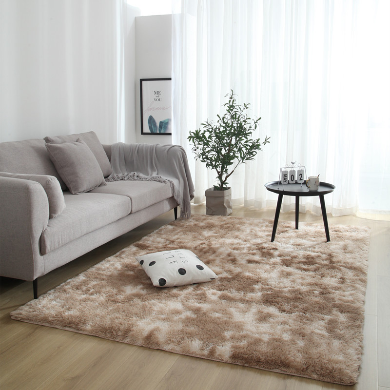 Long Hair Tie Dyeing Carpet Bay Window Bedside Mat Ultra Soft Area Rugs Shaggy Washable Blanket Gradient Color Living Room Rug