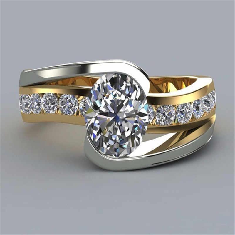 Luxo masculino feminino grande cristal anel de pedra cor do ouro 925 prata jóias de casamento promessa anéis de noivado para homens e mulheres