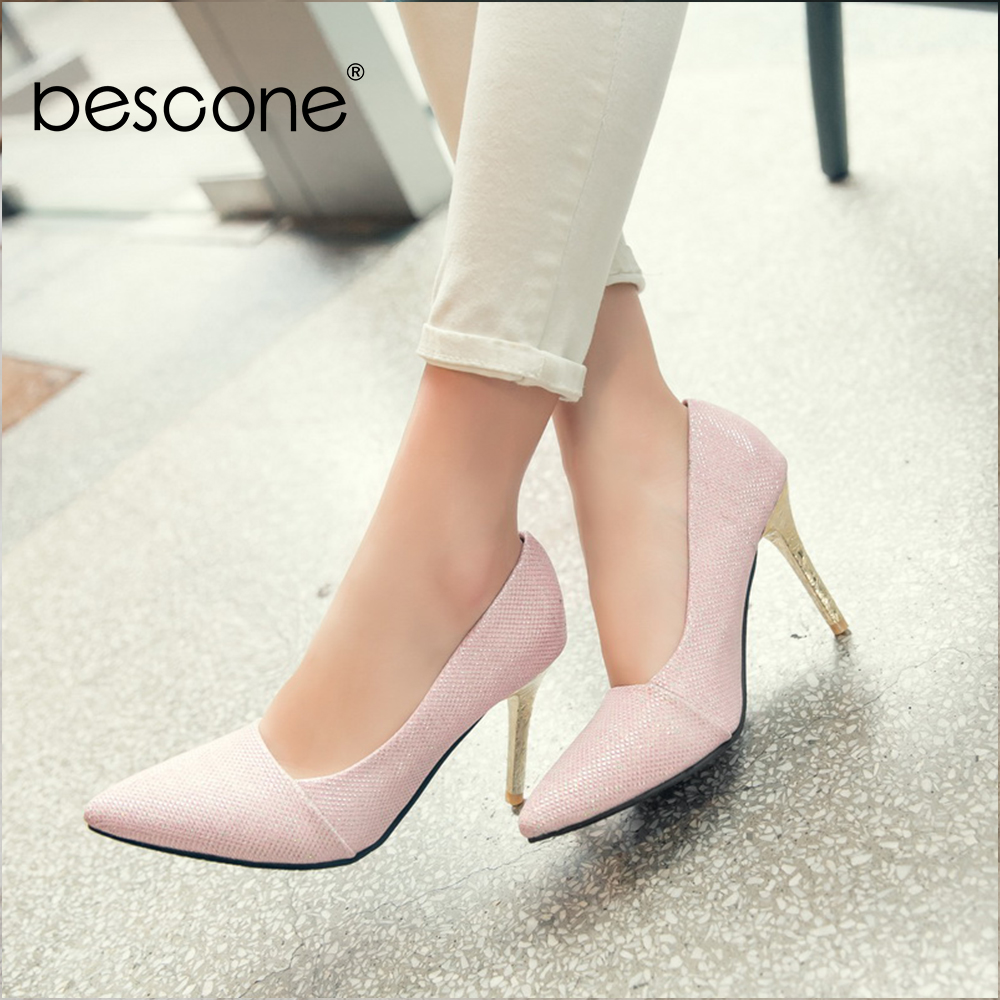 Image 1 - BESCONE Elegant Ladies Pumps Sexy Pointed Toe Office Shallow Thin Heel Shoes Handmade Slip On Super High Heel Women Pumps BM92Womens Pumps   -
