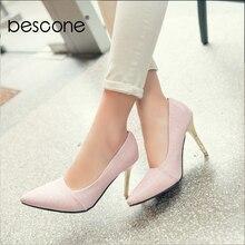 BESCONE Elegant Ladies Pumps Sexy Pointed Toe Office Shallow Thin Heel Shoes Handmade Slip On Super High Heel Women Pumps BM92