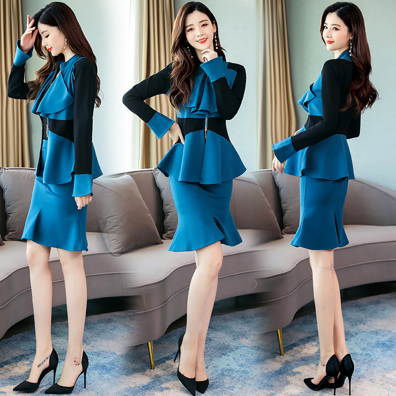 Fashion Slim Fit Two Pieces Dress Outfit Women's 2019 Autumn Clothing New Style Fishtail Skirt Joint Set Skirt