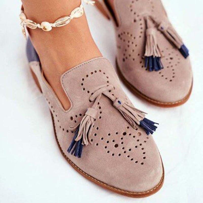 Women Brogue Shoes Autumn New Flats Woman Fashion Tassel Round Toe Fringe PU Leather Loafers Lady Footwear Plus Size 35 42|Women's Flats| - AliExpress