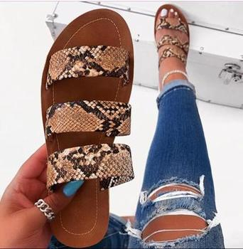2020 new women slippers fashion wild snake double layer sandals flat bottom ladies beach shoes outdoor travel  flip flop 1