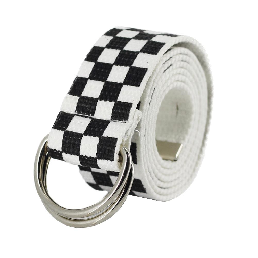 130cm Dual Ring Fashion Canvas Waist Belt Rainbow Color Striped Strap Waistband For Men Women Jean Pants All-match Leisure Strap