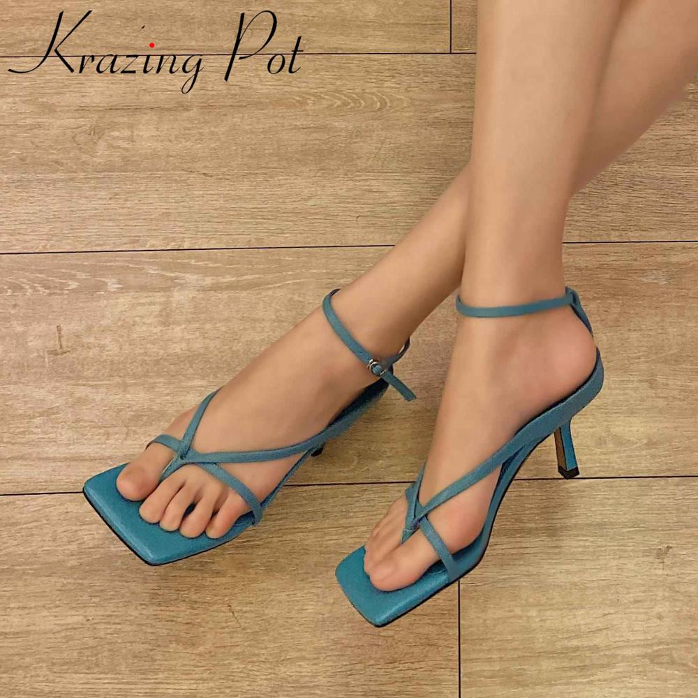 Krazing Pot Hot Colorful Genuine Leather Peep Square Toe Women Shoes Buckle Strap Thin High Heels Breathable Summer Sandals L35