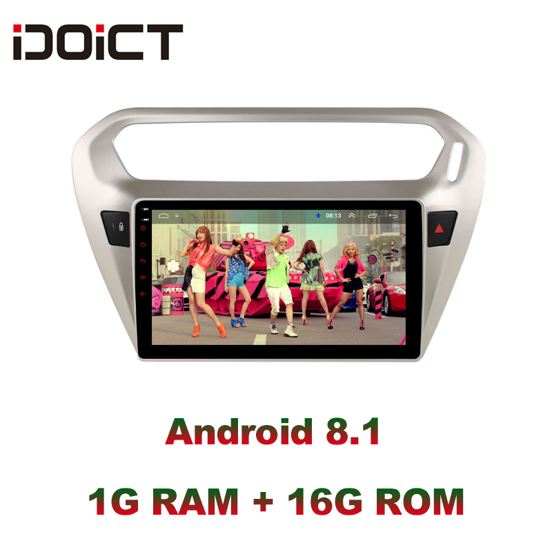 IDOICT Android 9.1 Car DVD Player GPS Navigation Multimedia For <font><b>peugeot</b></font> <font><b>301</b></font> Citroen Elysee Radio 2013-2016 image